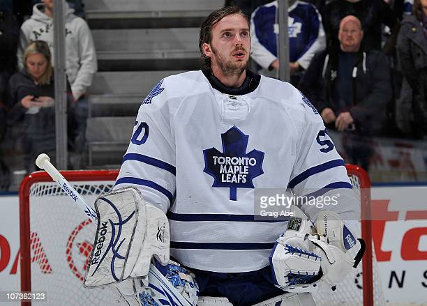 Jonas Gustavsson of the Toronto Maple Leafs looks on prior to game action against the Edmonton Oilers December 2 2010 at the Air Canada Centre in...