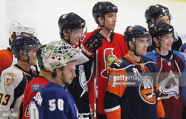 Jonas Gustavsson of the Toronto Maple Leafs Mikael Backlund of the Calgary Flames Colin Wilson of the Nashville Predators James Van Riemsdyk of the...