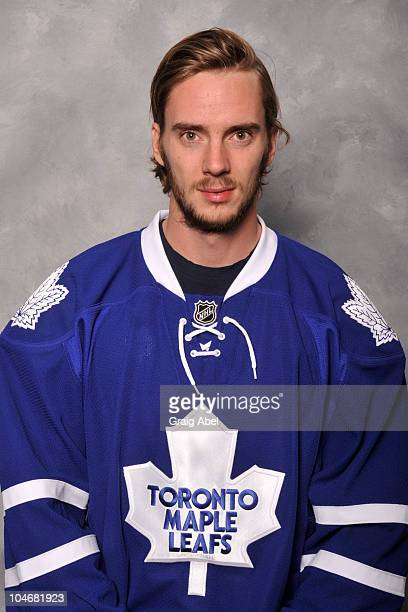 Jonas Gustavsson of the Toronto Maple Leafs poses for his official headshot for the 20102011 season at the Mastercard Centre for Hockey Excellence...
