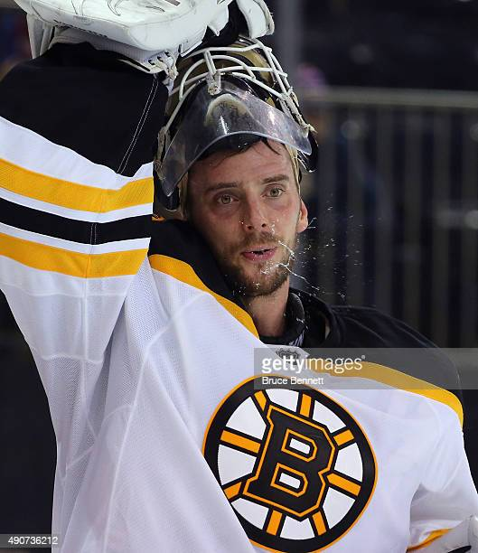 Jonas Gustavsson takes a second period water break during the game against the New York Rangers at Madison Square Garden on September 30 2015 in New...