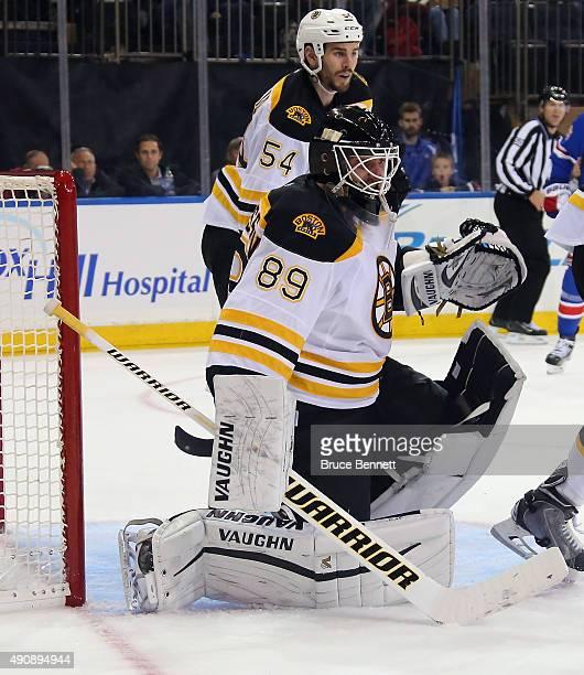Jonas Gustavsson tends net against the New York Rangers at Madison Square Garden on September 30 2015 in New York City