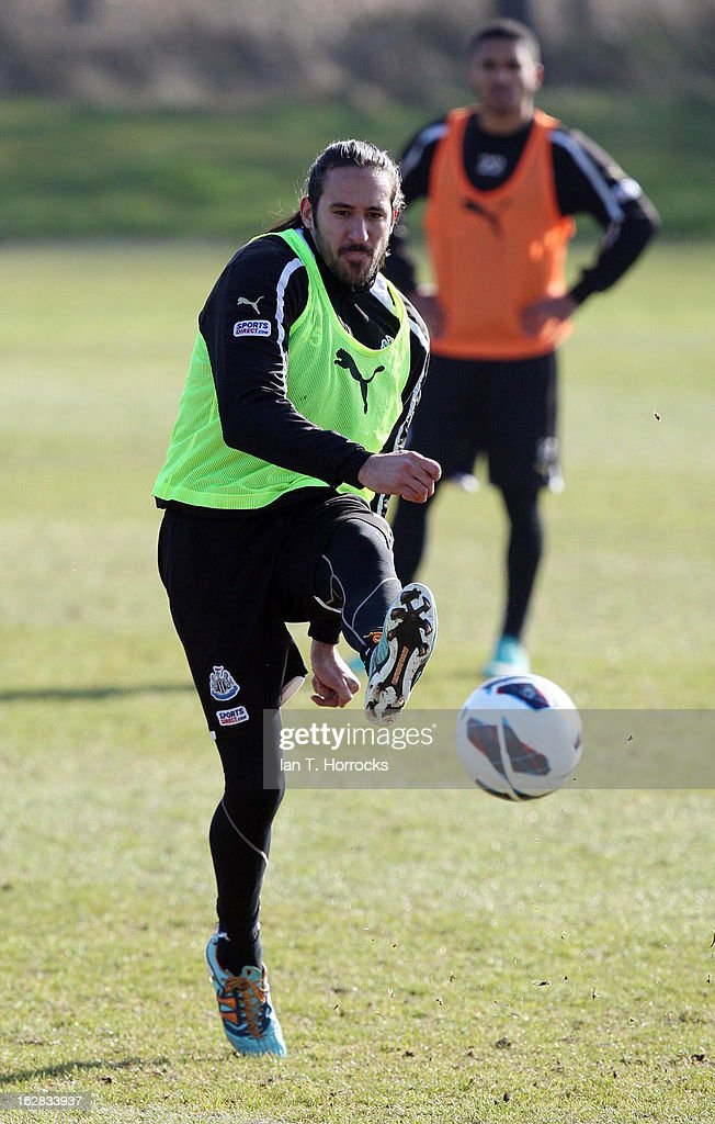 <a gi-track='captionPersonalityLinkClicked' href=/galleries/search?phrase=Jonas+Gutierrez&family=editorial&specificpeople=771739 ng-click='$event.stopPropagation()'>Jonas Gutierrez</a> in action during a Newcastle United training session at the Little Benton training ground on February 28, 2013 in Newcastle upon Tyne, England.