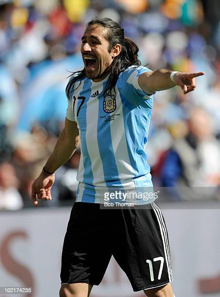 Jonas Gutierrez of Argentina during the 2010 FIFA World Cup South Africa Group B match between Argentina and South Korea at Soccer City Stadium on...