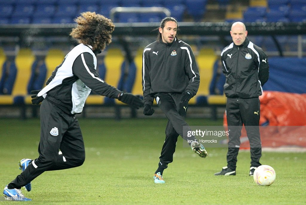 Jonas Gutierrrez of Newcastle United FC during a training session ahead of their UEFA Europa League round of 32 second leg match against FC Metalist Kharkiv, at Metalist Stadium, on February 20, 2013 in Kharkov, Ukraine.
