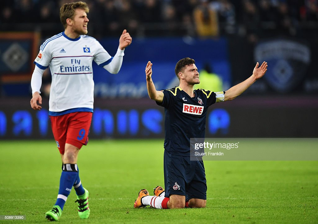 <a gi-track='captionPersonalityLinkClicked' href=/galleries/search?phrase=Jonas+Hector&family=editorial&specificpeople=8121522 ng-click='$event.stopPropagation()'>Jonas Hector</a> of Cologne reacts during the Bundesliga match between Hamburger SV and 1. FC Koeln at Volksparkstadion on February 7, 2016 in Hamburg, Germany.