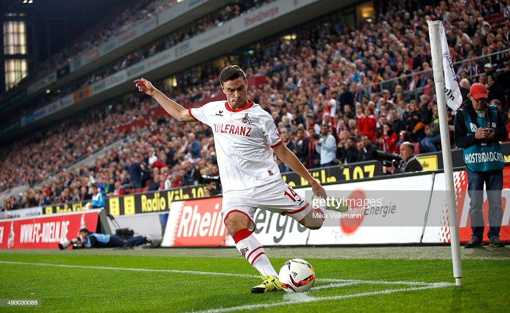 Jonas Hector of Cologne with a corner kick during the Bundesliga match between 1 FC Koeln and FC Ingolstadt at RheinEnergieStadion on September 25...