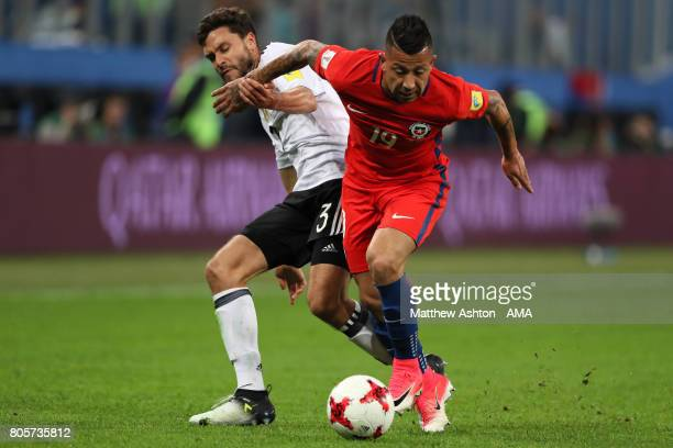 Jonas Hector of Germany challenges Leonardo Valencia of Chile during the FIFA Confederations Cup Russia 2017 Final match between Chile and Germany at...