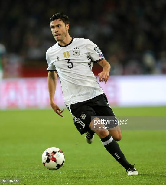 Jonas Hector of Germany controls the ball during the FIFA 2018 World Cup Qualifier between Germany and Northern Ireland at HDIArena on October 11...