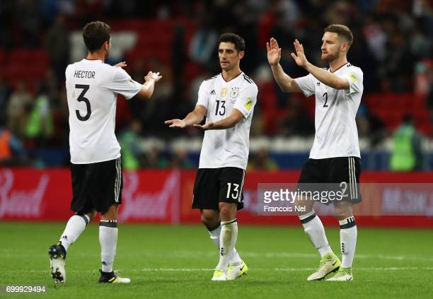 Jonas Hector of Germany Lars Stindl of Germany and Shkodran Mustafi of Germny celebrate after the FIFA Confederations Cup Russia 2017 Group B match...