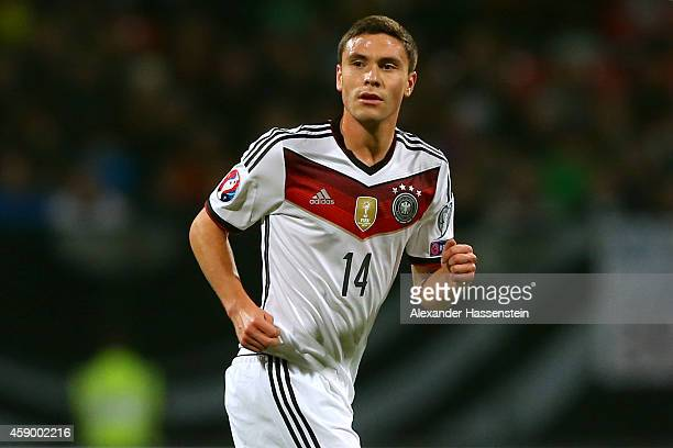 Jonas Hector of Germany looks on during the EURO 2016 Group D Qualifier match between Germany and Gibraltar at Grundig Stadion on November 14 2014 in...