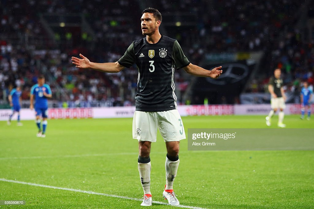 <a gi-track='captionPersonalityLinkClicked' href=/galleries/search?phrase=Jonas+Hector&family=editorial&specificpeople=8121522 ng-click='$event.stopPropagation()'>Jonas Hector</a> of Germany reacts during the international friendly match between Germany and Slovakia at WWK-Arena on May 29, 2016 in Augsburg, Germany.