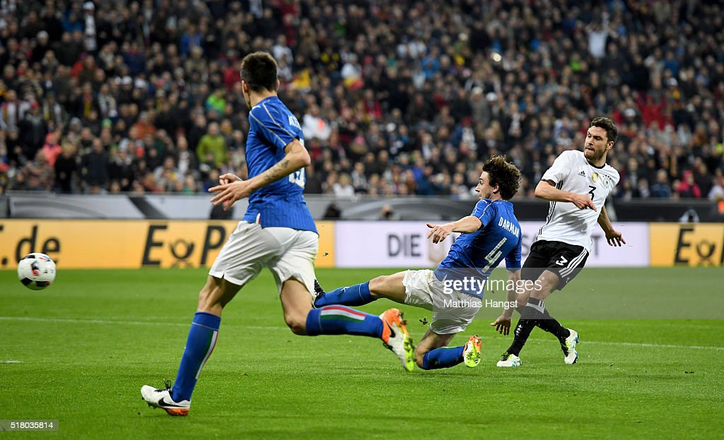Jonas Hector of Germany scores his teams third goal during the International Friendly match between Germany and Italy at Allianz Arena on March 29, 2016 in Munich, Germany.