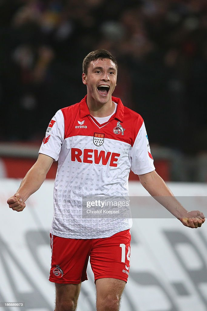 Jonas Hector of Koeln celebrates the forth goal during the Second Bundesliga match between 1. FC Koeln and 1. FC Union Berlin at RheinEnergieStadion on November 4, 2013 in Cologne, Germany.