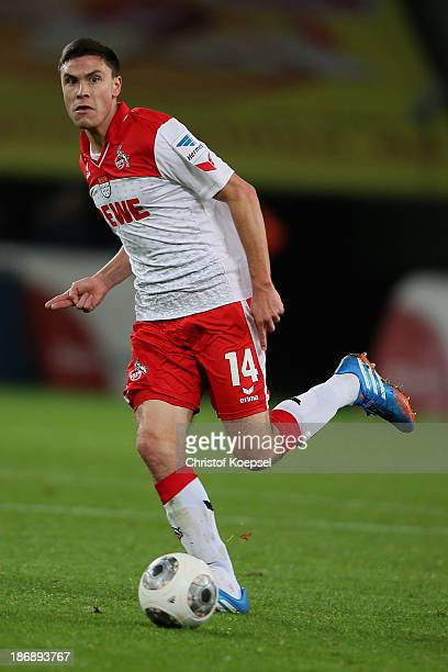 Jonas Hector of Koeln runs with the ball during the Second Bundesliga match between 1 FC Koeln and 1 FC Union Berlin at RheinEnergieStadion on...