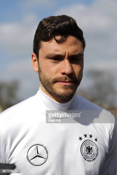 Jonas Hector talks to the media prior the training of German national team ahead of the FIFA World Cup qualification match 2018 against Azerbaijan on...