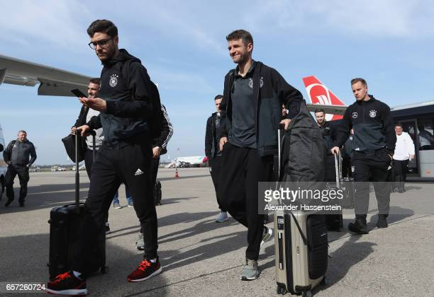 Jonas Hector Thomas Mueller and MarcAndre ter Stegen of Germany arrive with the team at Duesseldorf Airport to depart for the FIFA 2018 World Cup...