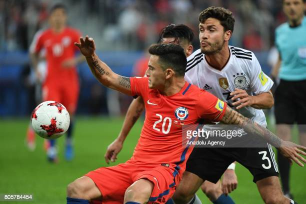 Jonas Hektor of Germany in action against Charles Aranguiz of Chile during the Confederations Cup 2017 Final match Chile Germany at SaintPetersburg...