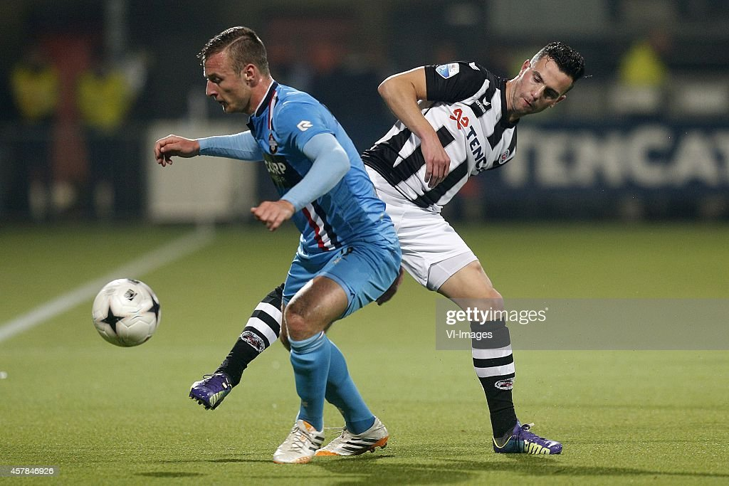 Jonas Heymans of Willem II during the Dutch Eredivisie match between Heracles Almelo and Willem II at Polman stadium on october 25 2014 in Almelo The...