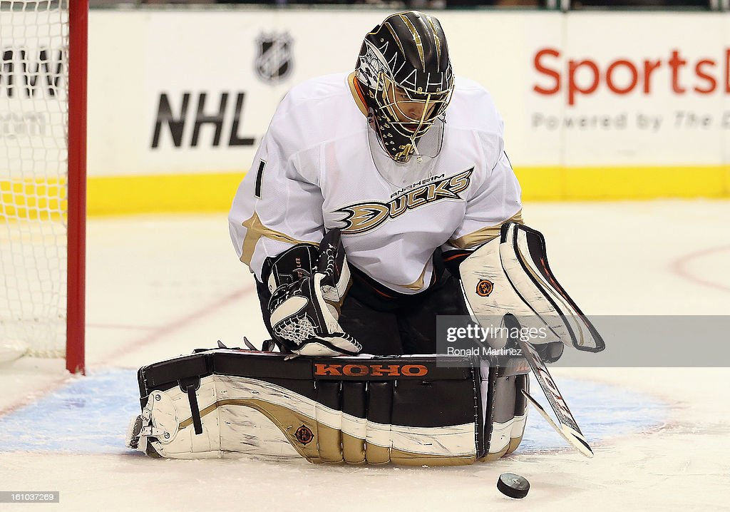 <a gi-track='captionPersonalityLinkClicked' href=/galleries/search?phrase=Jonas+Hiller&family=editorial&specificpeople=743364 ng-click='$event.stopPropagation()'>Jonas Hiller</a> #1 of the Anaheim Ducks makes a save against the Dallas Stars at American Airlines Center on February 8, 2013 in Dallas, Texas.