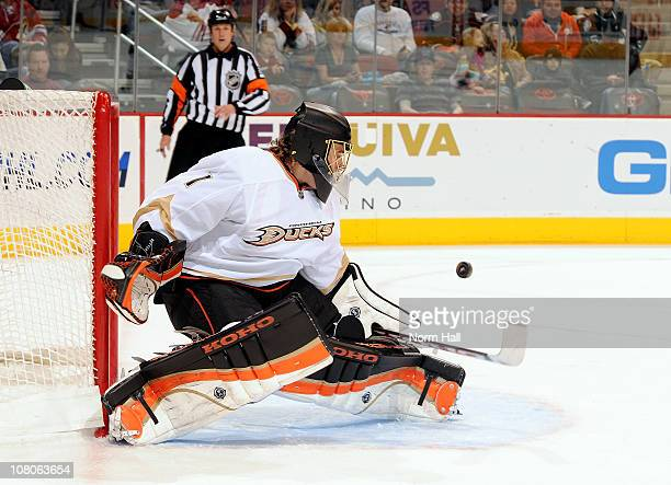 Jonas Hiller of the Anaheim Ducks makes a save on a shot by a Phoenix Coyotes player on January 15 2011 at Jobingcom Arena in Glendale Arizona