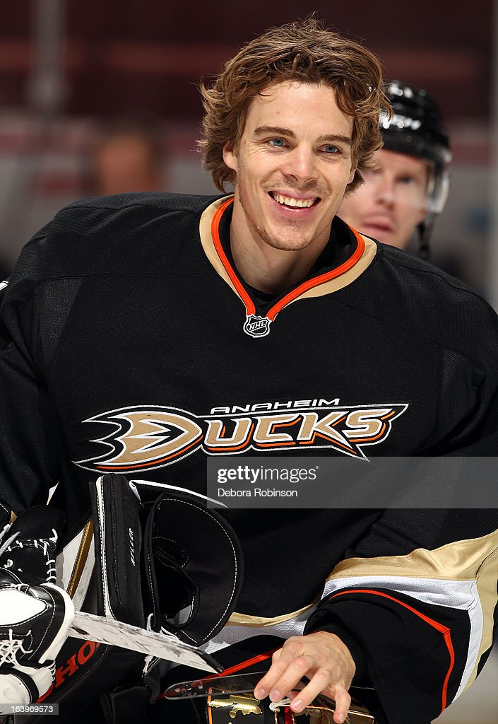 Jonas Hiller #1 of the Anaheim Ducks smiles during warmups before the game against the San Jose Sharks on March 18, 2013 at Honda Center in Anaheim, California.