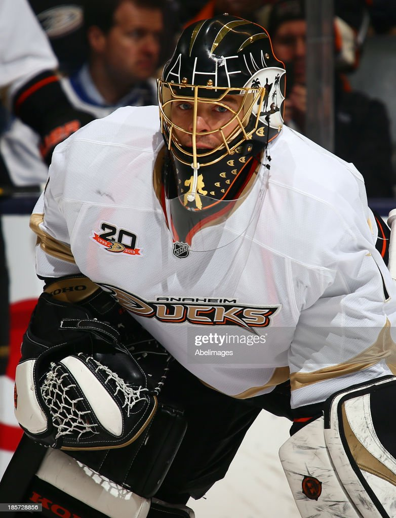 Jonas Hiller #1 of the Anaheim Ducks warms up before NHL action against the Toronto Maple Leafs at the Air Canada Centre October 22, 2013 in Toronto, Ontario, Canada.