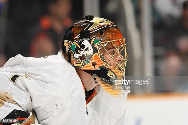 Jonas Hiller of the Anaheim Ducks watches the action during a NHL game against the San Jose Sharks on April 4 2009 at HP Pavilion at San Jose in San...