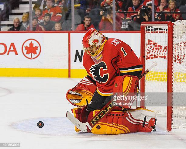 Jonas Hiller of the Calgary Flames skates against the St Louis Blues at Scotiabank Saddledome on October 13 2015 in Calgary Alberta Canada
