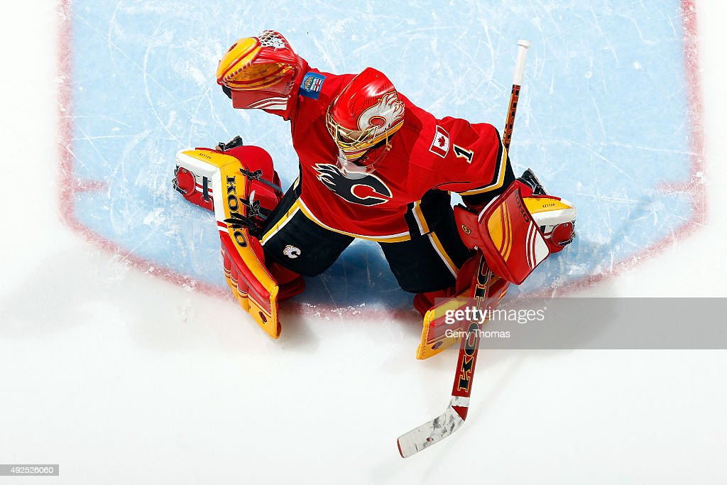 Jonas Hiller #1 of the Calgary Flames skates in net during the warmup against the St. Louis Blues during an NHL game at Scotiabank Saddledome for the NHL season opener on October 13, 2015 in Calgary, Alberta, Canada.