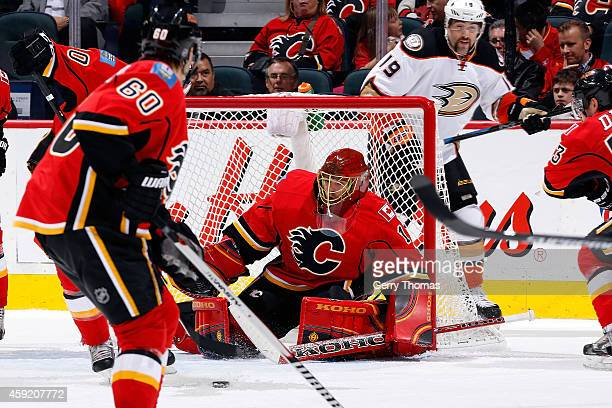 Jonas Hiller of the Calgary Flames tracks the puck to make a save against the Anaheim Ducks at Scotiabank Saddledome on November 18 2014 in Calgary...