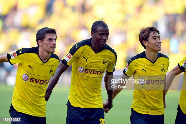 Jonas Hofmann Adrian Ramos and Shinji Kagawa of Borussia Dortmund during the game between Borussia Dortmund and Hertha BSC on August 30 2015 in...