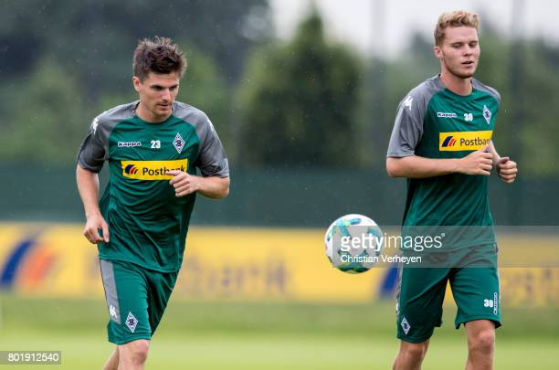 Jonas Hofmann and Nico Elvedi during a training session of Borussia Moenchengladbach at BorussiaPark on June 27 2017 in Moenchengladbach Germany