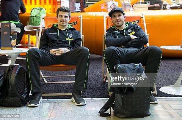 Jonas Hofmann and Tobias Sippel of Borussia Moenchengladbach departs to Marbella on January 06 2017 in Duesseldorf Germany