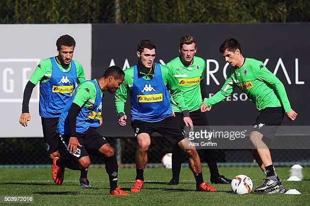 Jonas Hofmann is challenged by Raffael during a Borussia Moenchengladbach training session on day 3 of the Bundesliga Belek training camps at Maxx...
