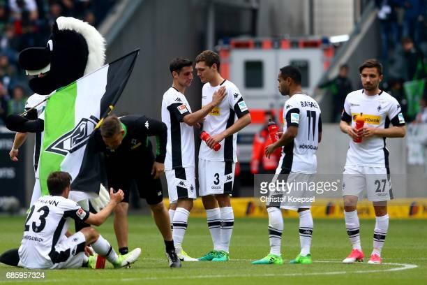 Jonas Hofmann Lars Stindl Andreas Christensen Raffael and Julian Korb of Moenchengladbach look dejected after the Bundesliga match between Borussia...