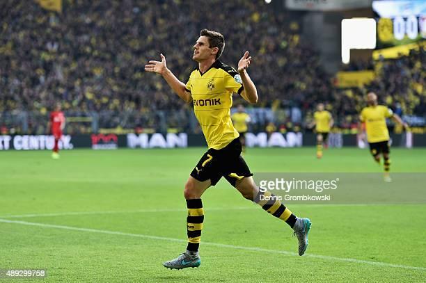 Jonas Hofmann of Borussia Dortmund celebrates as he scores the opening goal during the Bundesliga match between Borussia Dortmund and Bayer...