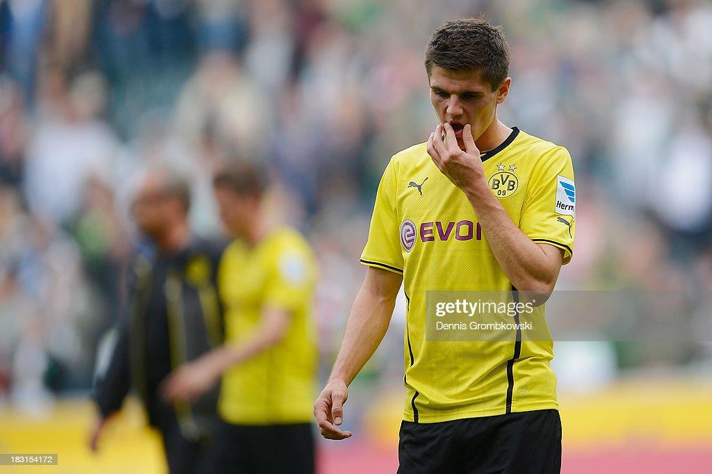 Jonas Hofmann of Borussia Dortmund reacts after the Bundesliga match between Borussia Moenchengladbach and Borussia Dortmund at Borussia-Park on October 5, 2013 in Moenchengladbach, Germany.