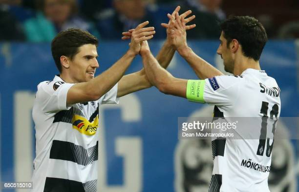Jonas Hofmann of Borussia Moenchengladbach celebrates as he scores their first goal with team mate Lars Stindl during the UEFA Europa League Round of...