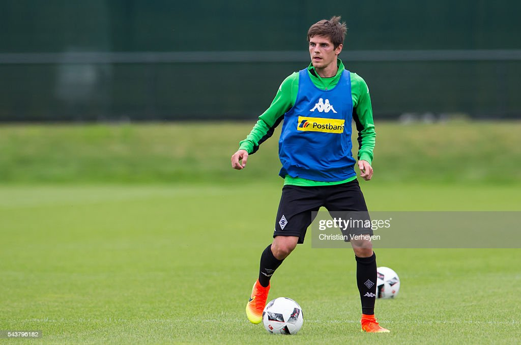 Jonas Hofmann of Borussia Moenchengladbach controls the ball during a training session at Borussia-Park on June 30, 2016 in Moenchengladbach, Germany.