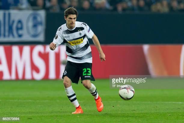 Jonas Hofmann of Borussia Moenchengladbach controls the ball during the UEFA Europa League Round of 16 first leg match between FC Schalke 04 and...