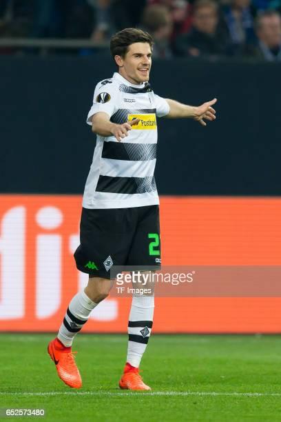 Jonas Hofmann of Borussia Moenchengladbach gestures during the UEFA Europa League Round of 16 first leg match between FC Schalke 04 and Borussia...