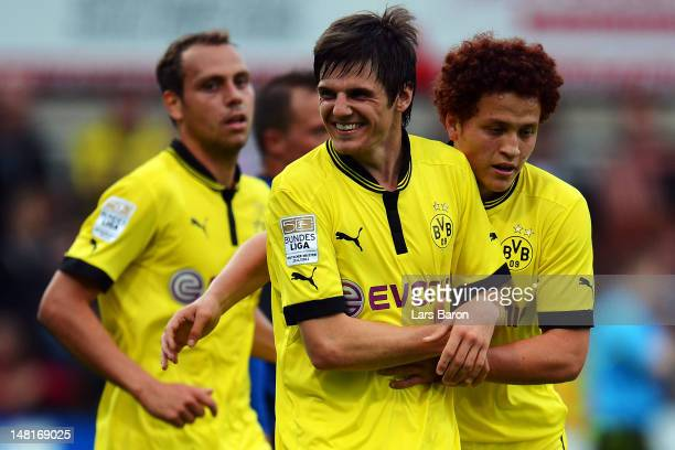 Jonas Hofmann of Dortmund celebrates after scoring his teams second goal during a friendly match between SV Meppen and Borussia Dortmund at MEPArena...