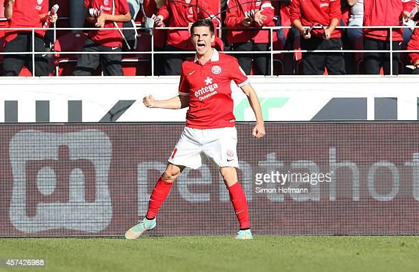 Jonas Hofmann of Mainz celebrates his team's first goal during the Bundesliga match between 1 FSV Mainz 05 and FC Augsburg at Coface Arena on October...