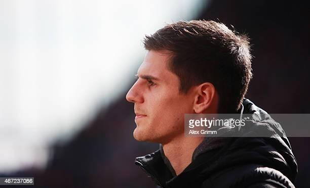 Jonas Hofmann of Mainz looks on prior to the Bundesliga match between 1 FSV Mainz 05 and VfL Wolfsburg at Coface Arena on March 22 2015 in Mainz...
