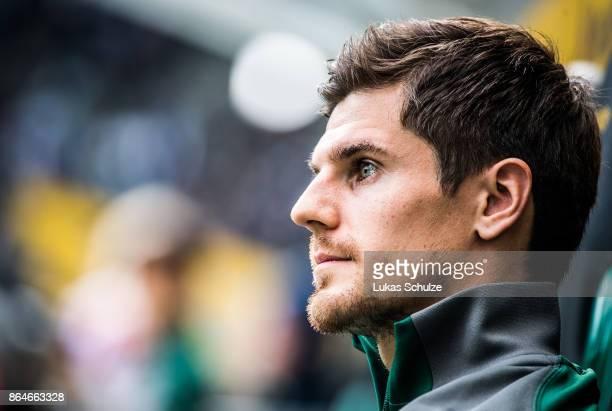 Jonas Hofmann of Moenchengladbach looks up prior to the Bundesliga match between Borussia Moenchengladbach and Bayer 04 Leverkusen at BorussiaPark on...