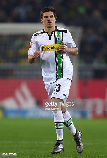 Jonas Hofmann of Moenchengladbach reacts during the Bundesliga match between Borussia Moenchengladbach and Borussia Dortmund at BorussiaPark on...