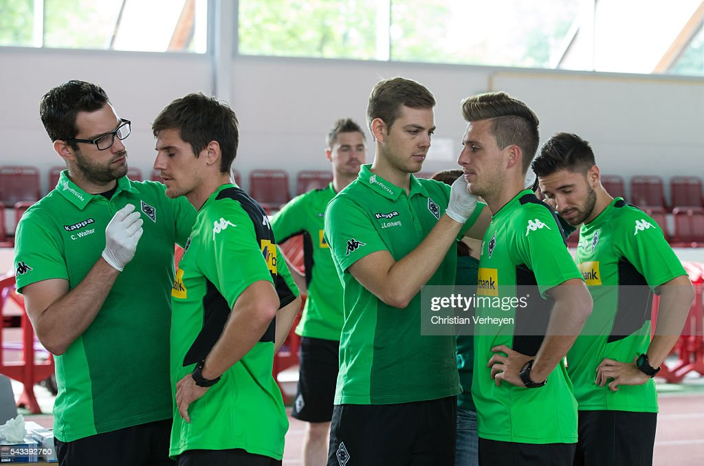 Jonas Hofmann, Patrick Herrmann and Julian Korb of Borussia Moenchengladbach during a Lactate Test in Duesseldorf on June 28, 2016 in Moenchengladbach, Germany.