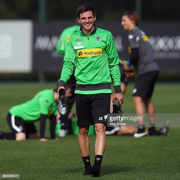 Jonas Hofmann smiles after a Borussia Moenchengladbach training session on day 5 of the Bundesliga Belek training camps at Maxx Royal Golf Resort on...