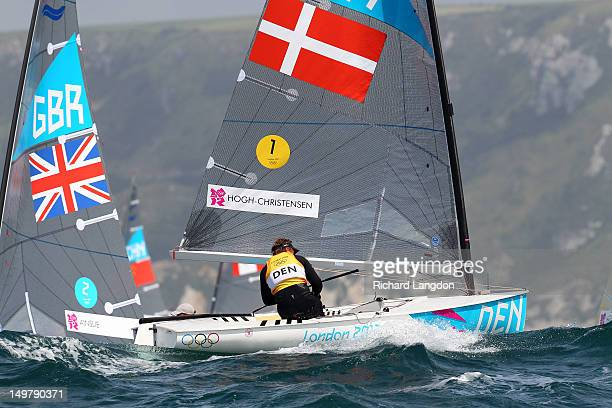 Jonas HoghChristensen of Denmark competes in the Men's Finn Sailing on Day 7 of the London 2012 Olympic Games at the Weymouth Portland Venue at...