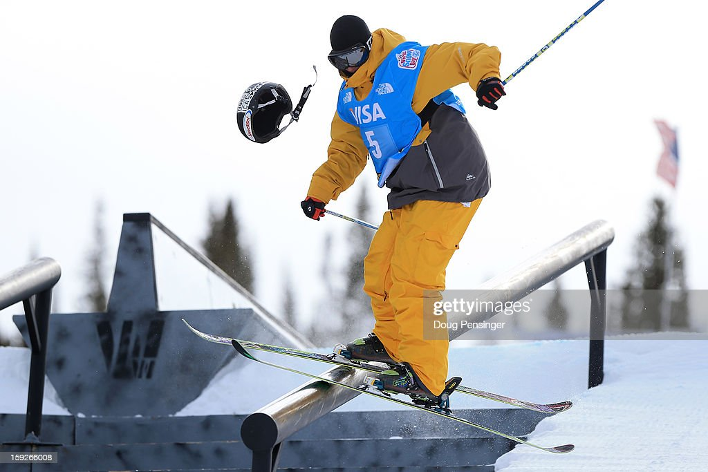 Jonas Hunziker of Switzerland looses his helmet as he competes during qualification for the FIS Freestyle Ski Slope Style World Cup on January 10, 2013 in Copper Mountain, Colorado.